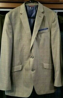 Billy London Uk Silver Mens Blazer Suit Coat Jacket 42L Very Nice Fabric and Cut
