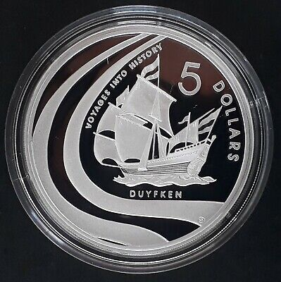 2002 Australia Voyages Into History Duyfken 1oz Silver (.999) $5 Proof coin