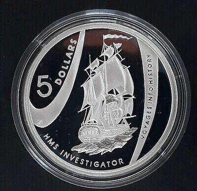 2002 Australia Voyages Into History Investigator 1oz Silver (.999) $5 Proof coin