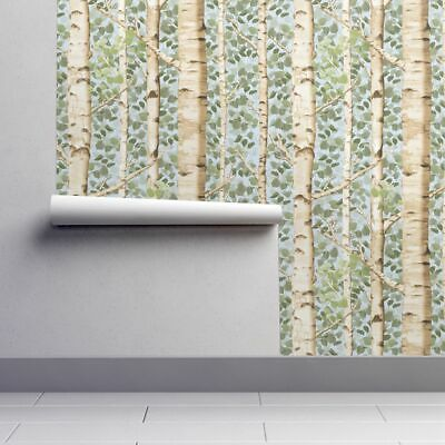 Removable Water-Activated Wallpaper Birch Tree Forest Nature Modern Home Decor