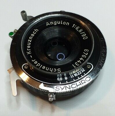 Schneider Kreuznach Angulon 1:6.8/90mm Synchro Compur lens very good.