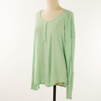 Lucky Brand Womens Knit Top XL Green Open Lace Shoulders Roll Up Long Sleeve