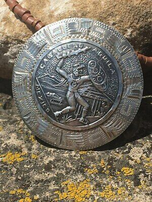 Aztec Mayan Eagle Warrior Vintage Taxco Sterling Native Pendant Necklace Mexican