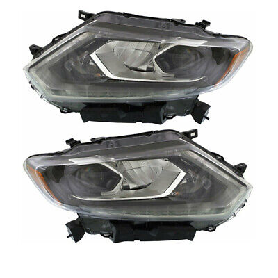 For 14 15 16 Rogue Front Headlight Headlamp Head Light Lamp w/LED DRL Set Pair