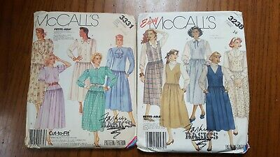 Vtg 1980s McCALL'S 3331 3238 Dress Jumper Sewing Patterns Lot size 10-14 UNCUT