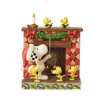 Jim Shore Peanuts Snoopy & Woodstock At Christmas Fireplace New 2019 6002772