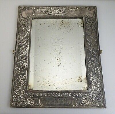 Antique James W. Tufts Silver Plate Store Advertising Framed Mirror -  56319