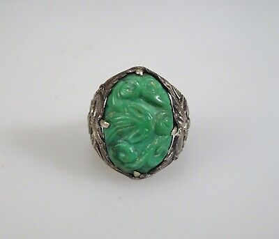 Vintage Chinese Export Silver Carved Green Turquoise Ring       -    56375