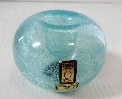 Vintage Karcag Hand Made Hand Cut Turquoise Art Glass Candle Holder Vase Hungary