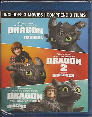 HOW TO TRAIN YOUR DRAGON 1, 2 + Hidden World 3 MOVIE BLU-RAY COLLECTION NEW 2019