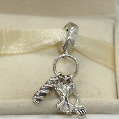 a7a2be608 New Authentic Pandora Charm Love Pasta Dangle Bead 797435 W Tag & Suede  Pouch