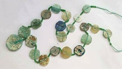 "Ancient Roman Glass Beads Afghanistan 15 mm to 30 mm Assorted 22"" String"