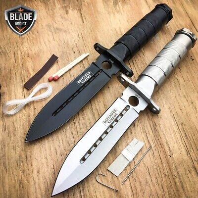 "2 PC 8"" Tactical Fishing Hunting BLADE CAMPING Knife + Survival Kit + SHEATH -z"