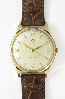 Garrad 9K Solid Gold Brown Leather Belt 1950s Vintage Automatic Watch Overhauled