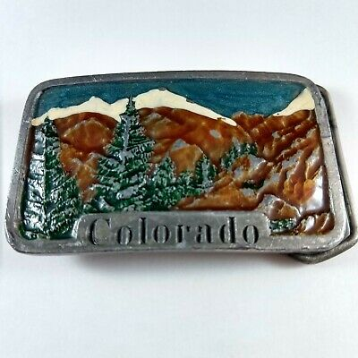 Vintage Colorado Mountains and Wilderness Belt Buckle 1978 Indiana Metal Craft