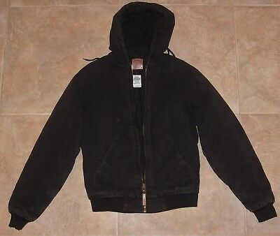 f0434a638 Men's Berne Black Cotton Duck Hooded Jacket HJ51BK Med Tall Chest 40-42