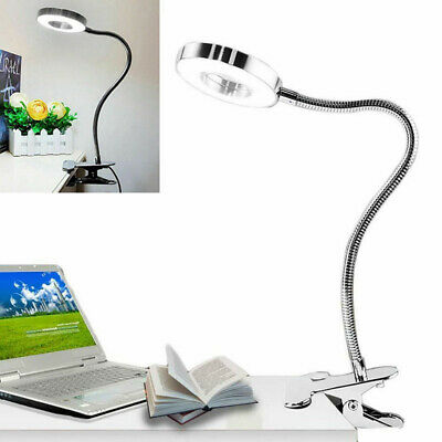 USB Rechargeable LED Book Light Flexible Desk Clip Lamp Night Reading Lights 6W