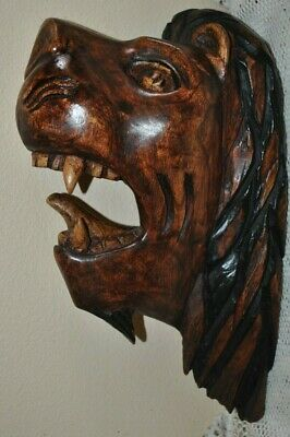 """Vtg LION Head Profile Wooden Hand Carved Figure ART WALL Hanging 13""""H x 7.5""""L"""