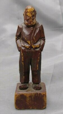 Antique Old Vintage Hand Carved Wooden Figure Man Folk Art Wood Carving
