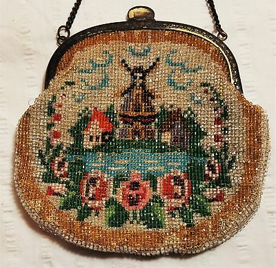 Victorian antique Germany glass beaded ornate scenic tapestry evening bag purse