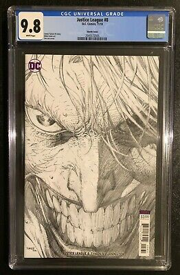 Justice League 8 Jim Lee Sketch 1 In 100 Joker Variant 2018 Cgc 9.8 Not Pgx Cbcs