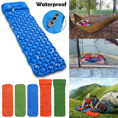 Ultralight Inflatable Camping Air Mattress Blow Up Bed Sleeping Mat Pad W Pillow