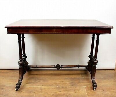 Victorian Side Table - Antique Furniture Burr Walnut 1880