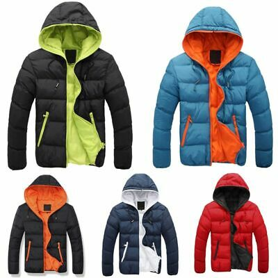 Mens Padded Bubble Coat Hooded Quilted Puffer Jacket Winter Warm Coat Outdoor AU