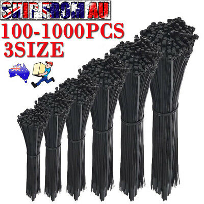 100-1000PC Cable Ties Zip Ties Nylon UV Stabilised Bulk Black Cable Tie AU