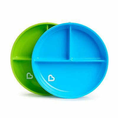 Munchkin Stay Put Divided Plates Blue Green Baby Infant Feeding Weaning