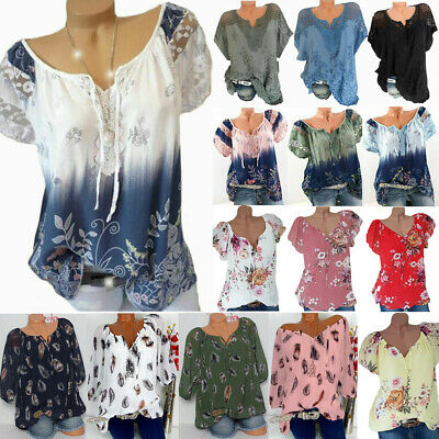 Plus Size Women Floral Short Sleeve Blouse Baggy Tops Ladies Casual  T Shirt
