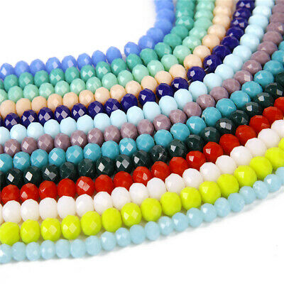 Wholesale 2/3/4/6/8/10mm Rondelle Faceted Crystal Glass Loose Spacer Beads Sy