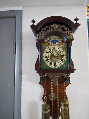 VINTAGE ANTIQUE DECORATIVE  Weight Driven Wall Clock GONG Strike st james london