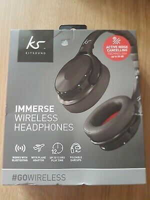 3b39972eb9d KitSound Immerse Wireless Bluetooth Headphones with Noise Cancelling Black  BNIB