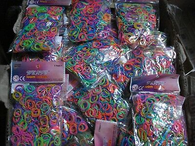 Liquidated Bankrupt Clearance Stock 40 Packets Bags 600 Loom Bands Carboot Gift