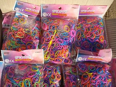 Liquidated Bankrupt Clearance Stock 40 Packets Bags 600 Loom Bands Bundle Sale