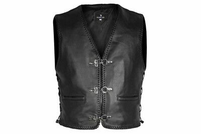 BlackTab Fish hook laced 1.3 Best USA Top Skin Leather waistcoat motorcycle vest