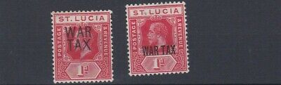 St Lucia     1916       S G  89 - 90  War Tax Values    Mh