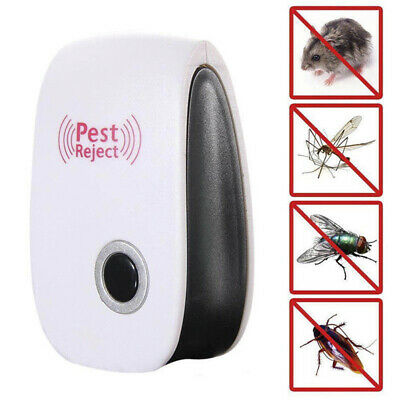 Electronic Ultrasonic Pest Reject Bug Mosquito Cockroach Mouse Killer Repel W0
