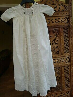 Vintage  Long Embroidered Cotton Lace Panel Christening Gown