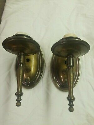 Pair  Antique Vintage Brass Candle Style Wall Sconce Electric Light Fixture