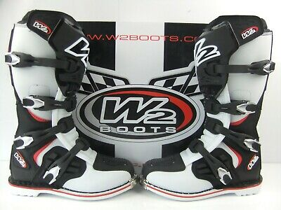 New W2 WHITE BLACK Motocross Enduro Boots 8 9 10 11 MX CR YZ RM KX CRF KTM SX