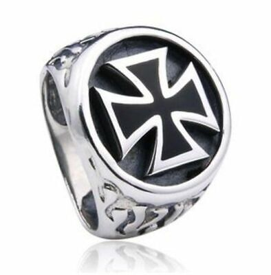 GERMAN Iron Cross Engraved WW2 Militiary size  V 1/2 Ring Stainless Steel (11)
