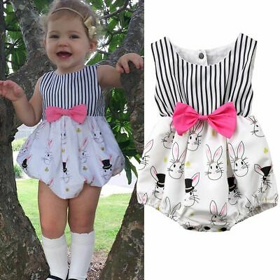Playsuits Floral Jumpsuit Easter Bunny Baby Girls Romper Bunny Bodysuit