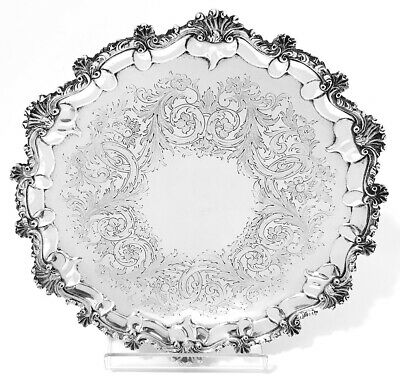 Victorian English Sterling Silver Salver 1864 by William Smily - 25 cm - 620 g