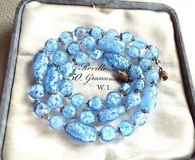 Antique Vintage Czech Venetian SKY BLUE Hand Blown Murano Glass Beaded Necklace
