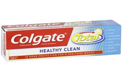 12x Colgate Total Healthy Clean 75ml Toothpaste 12hr Protection Against Bacteria