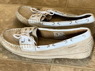 d47ab9200b81f New Womens Size 7 SEBAGO Bala Taupe Suede White Moccasin Deck Boat Shoes