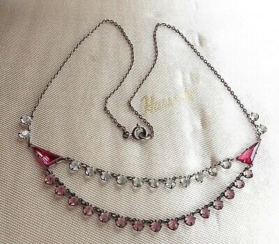 Beautiful Czech Vintage Art Deco Pink/Clear Glass OPEN BEZEL Double Row Necklace