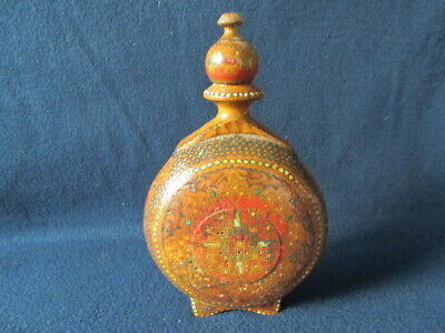 OLD ANTIQUE PRIMITIVE CARVED PAINTED WOODEN VESSEL FLASK WINE BOTTLE early 20th